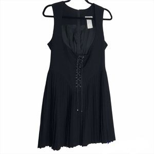 MUGLER Made In France Black Pleated Corset Gothic Dress
